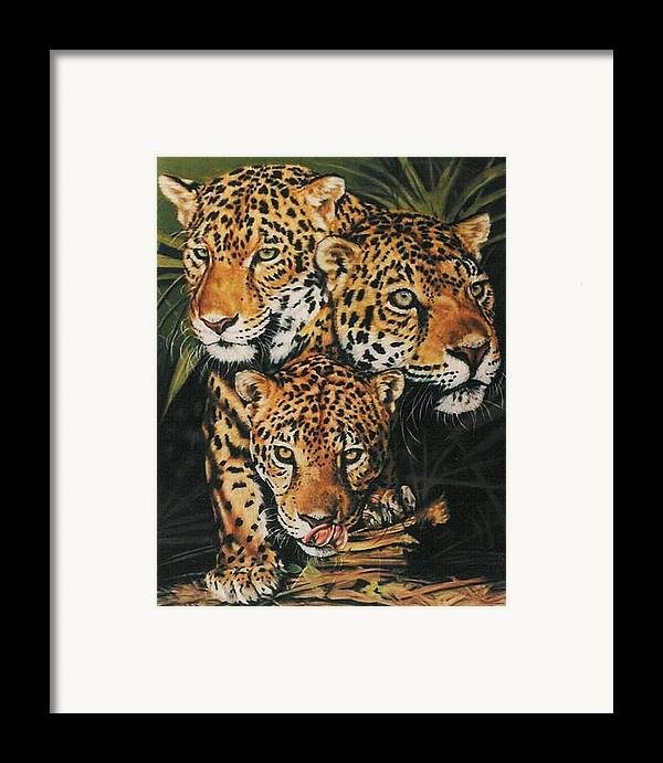 Jaguar Framed Print featuring the pastel Forest Jewels by Barbara Keith