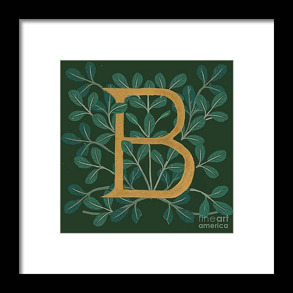 Letter B Framed Print featuring the digital art Forest Leaves Letter B by Donna Huntriss