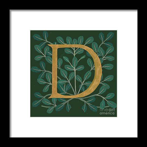 Letter D Framed Print featuring the digital art Forest Leaves Letter D by Donna Huntriss