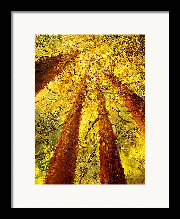Oil Framed Print featuring the painting Forest by Olga Gernovski