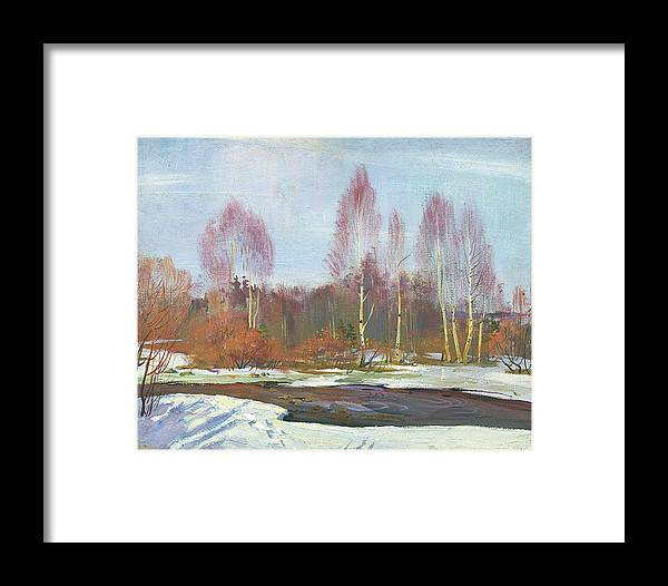 Winter Framed Print featuring the painting Forest River In Winter by Yue Minjun