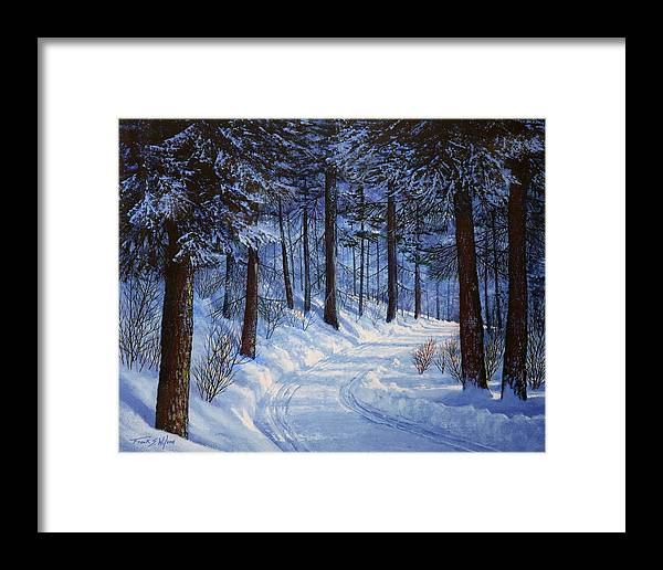 Landscape Framed Print featuring the painting Forest Road by Frank Wilson