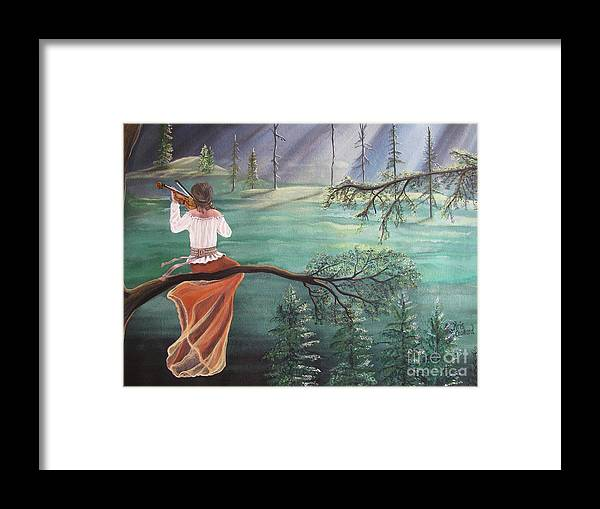 Violin Framed Print featuring the painting Forest Serenade by Kris Crollard