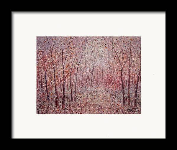 Landscape Framed Print featuring the painting Forest Stillness. by Leonard Holland