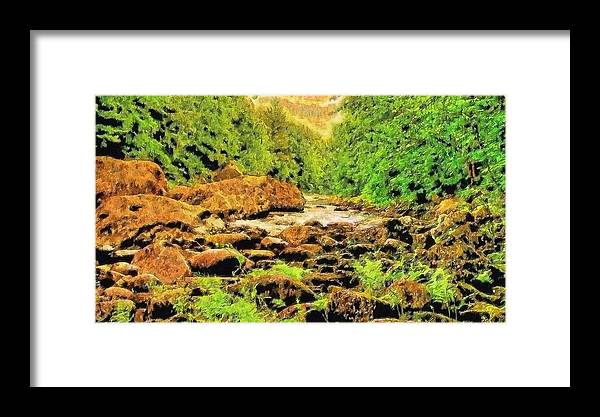 Framed Print featuring the digital art Forest Stream by Modified Image