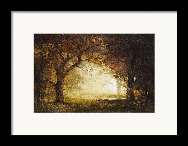 Landscape; American; Wood; Dawn; Clearing; Deer Framed Print featuring the painting Forest Sunrise by Albert Bierstadt
