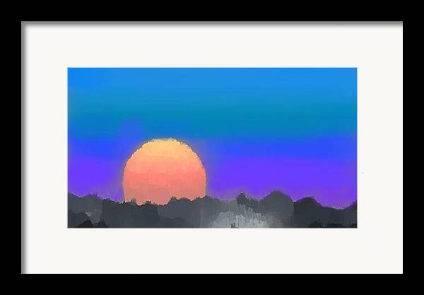Evenung.sunset.sky.sun.background Forest.silence.rest Framed Print featuring the digital art Forest Sunset. by Dr Loifer Vladimir