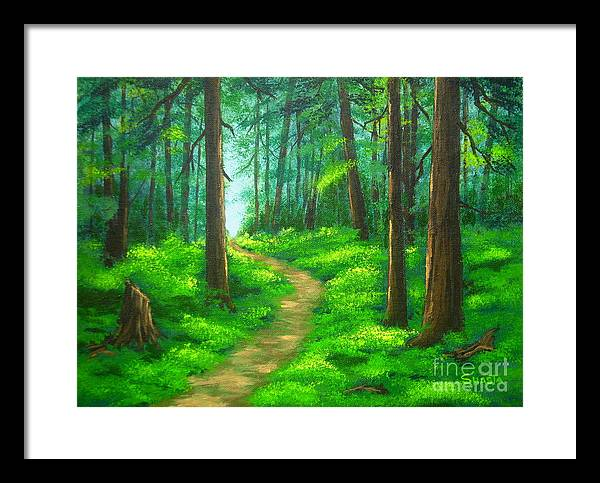 Landscape Framed Print featuring the painting Forest Walk by Shasta Eone