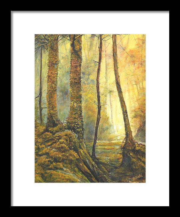 Landscape Impressionist Forest Framed Print featuring the painting Forest Wonderment by Craig shanti Mackinnon