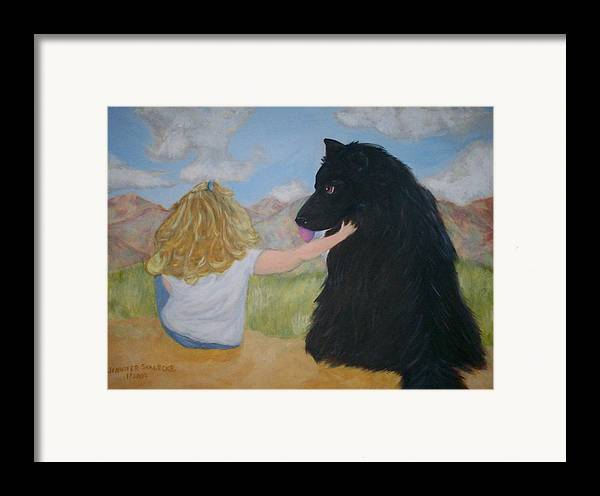 Dog Framed Print featuring the painting Forever Friends by Jennifer Skalecke
