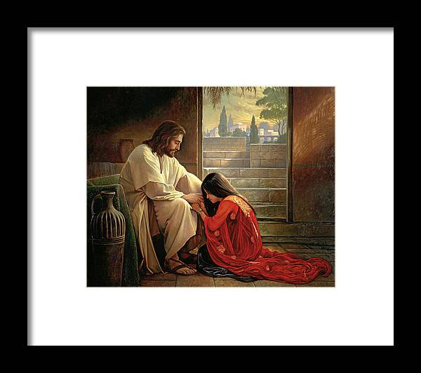 Jesus Framed Print featuring the painting Forgiven by Greg Olsen