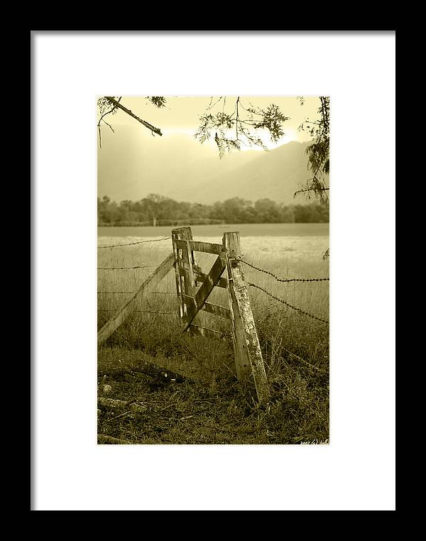 Gate Framed Print featuring the photograph Forgotten Fields by Holly Kempe