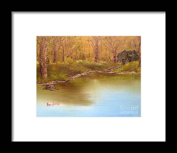 Water Framed Print featuring the painting Forgotten Lake by Todd Androy