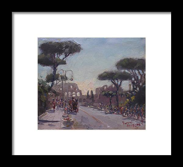 Fori Romani Framed Print featuring the painting Fori Romani - Street To Colosseo by Ylli Haruni