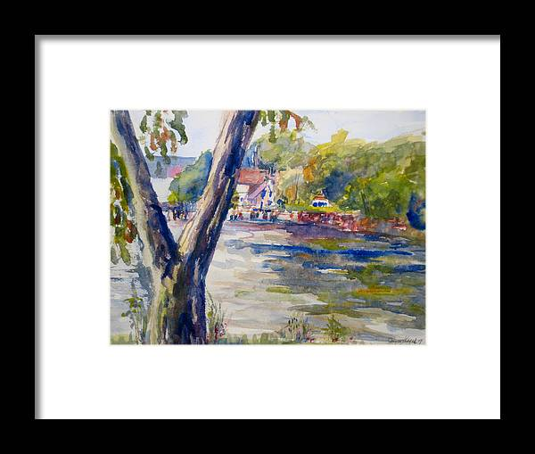 Landscape Framed Print featuring the painting Forked Tree by Joyce Kanyuk