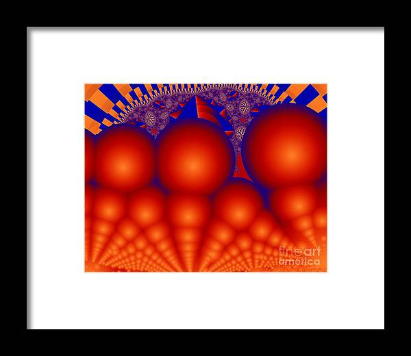 Fractal Image Framed Print featuring the digital art Formation Of Red Orbs by Ron Bissett