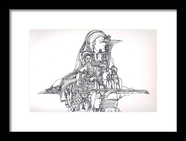 Surreal Framed Print featuring the drawing Forms In The Head by Padamvir Singh