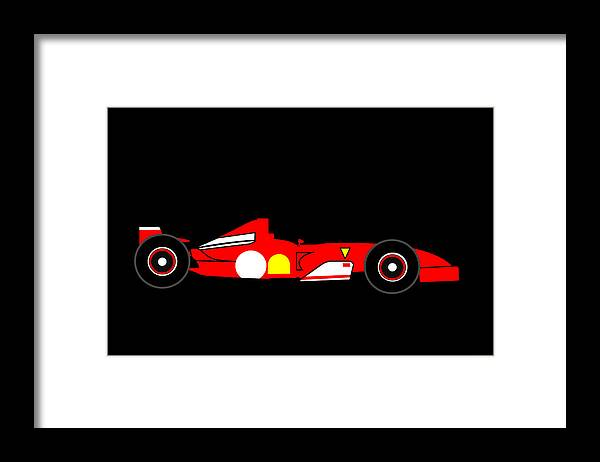 Ferrari Framed Print featuring the digital art Formula One Ferrari by Asbjorn Lonvig