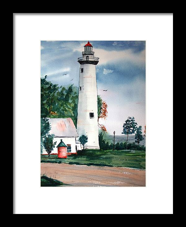 Watercolor Framed Print featuring the painting Fort Gratiot Lighthouse Michigan by Larry Hamilton