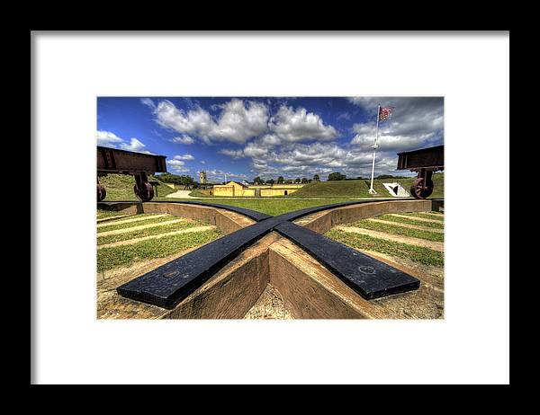 Fort Framed Print featuring the photograph Fort Moultrie Cannon Tracks by Dustin K Ryan