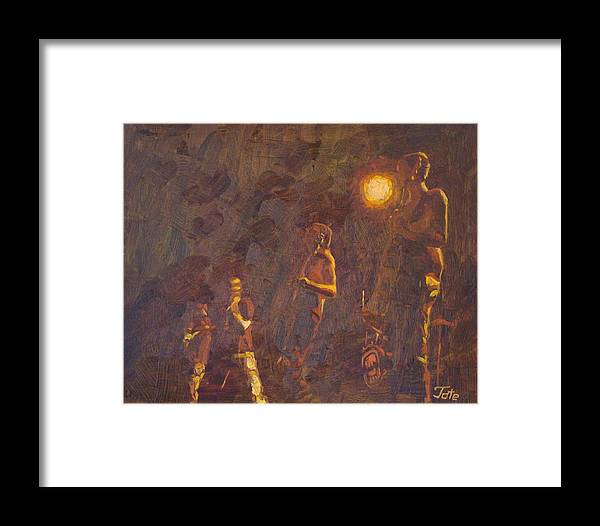 Musicians Framed Print featuring the painting Forth Yeer Freshman At The Bluebird by Tate Hamilton
