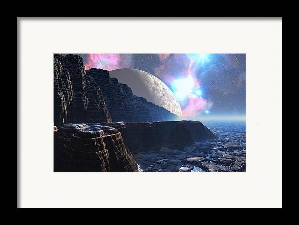 David Jackson Fortress Of Nimmbl Alien Landscape Planets Scifi Framed Print featuring the digital art Fortress Of Nimmbl by David Jackson