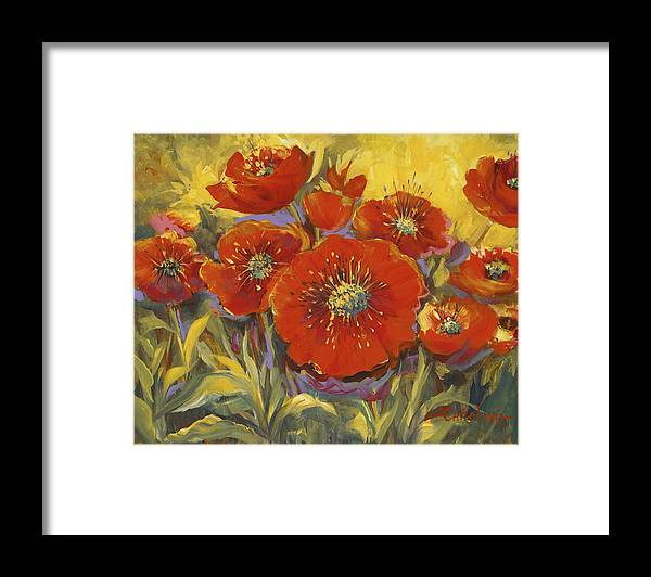 Plants Framed Print featuring the painting Fortuitous Poppies by Caroline Patrick