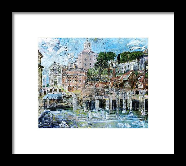 Italy Rome Framed Print featuring the painting Forum Romanum by Joan De Bot