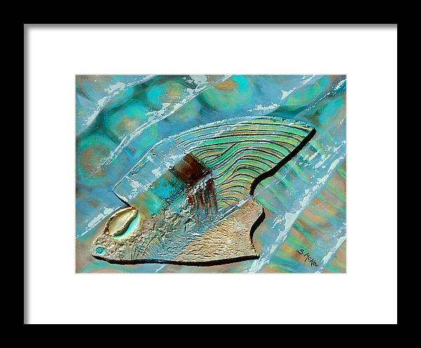 Acrylic Framed Print featuring the painting Fossil On The Shore by Suzanne McKee
