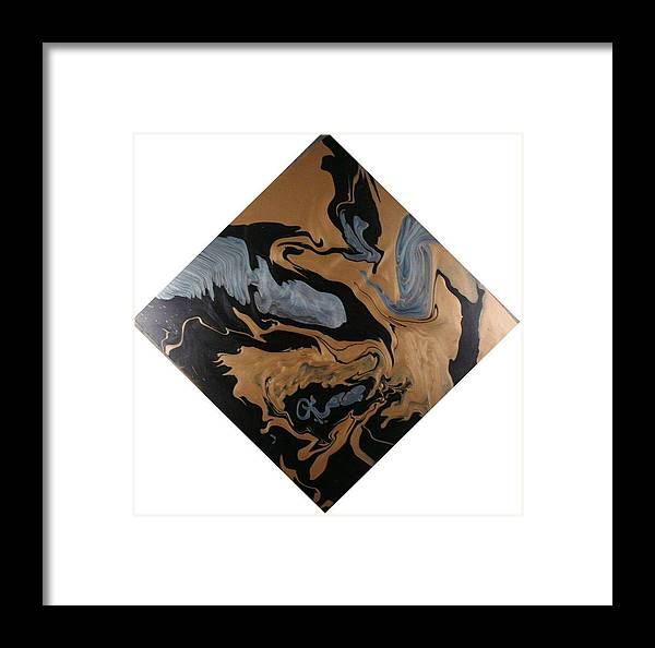 Abstract Framed Print featuring the painting Fossil by Patrick Mock
