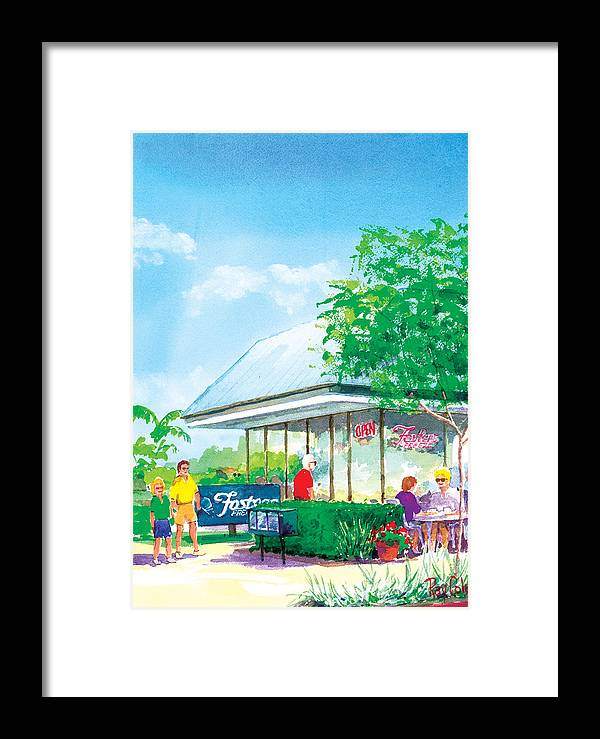 Storefront Framed Print featuring the painting Fosters Freeze by Ray Cole