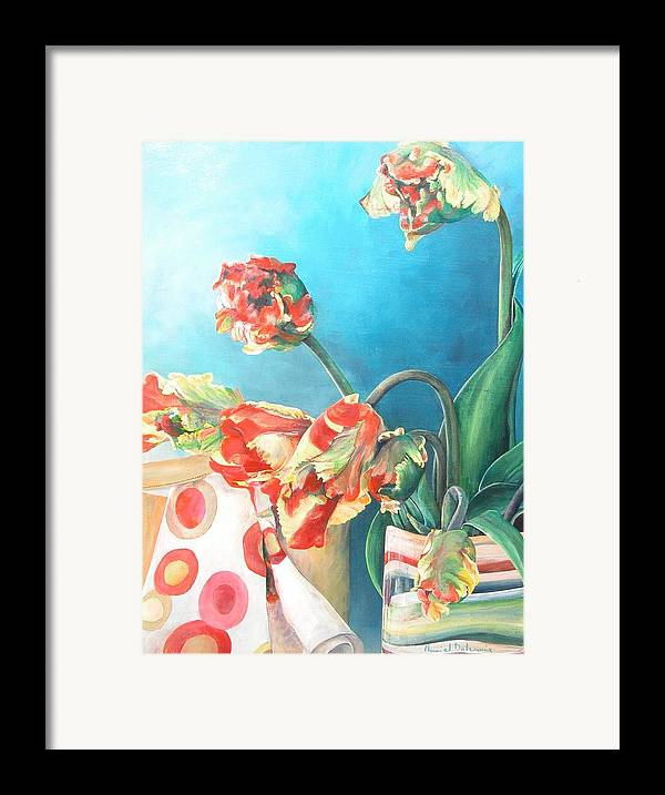 Still Life Framed Print featuring the painting Foulard by Muriel Dolemieux