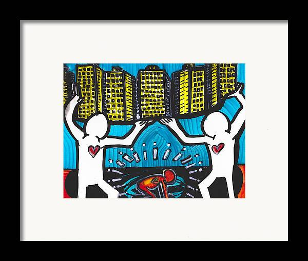 Contemporary Framed Print featuring the drawing Found In The Cracks by Robert Wolverton Jr