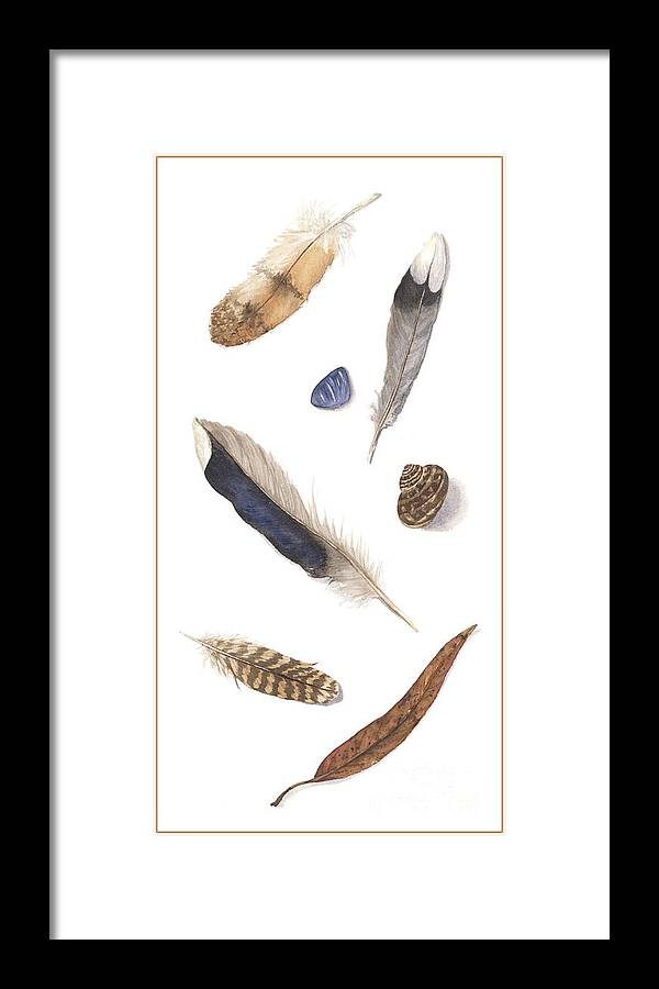 Feathers Framed Print featuring the painting Found Treasures by Lucy Arnold
