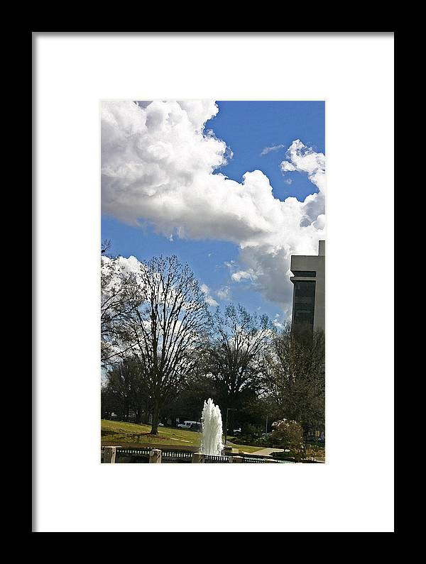 Fountain Framed Print featuring the photograph Fountain And Clouds by Beebe Barksdale-Bruner