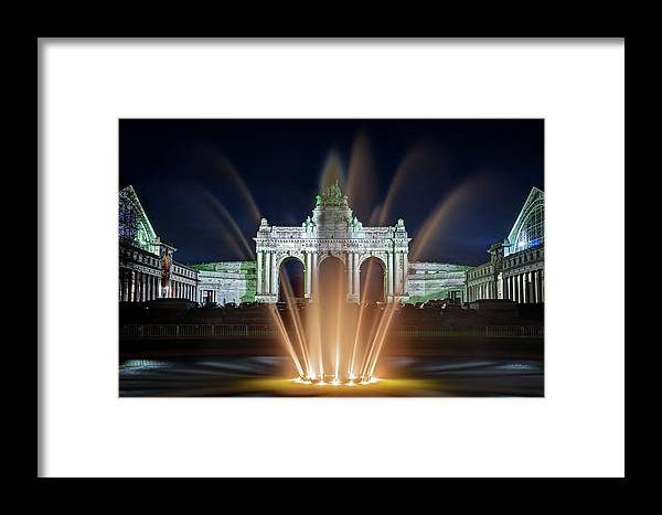 Brussels Framed Print featuring the photograph Fountain In Parc Du Cinquantenaire - Brussels by Barry O Carroll