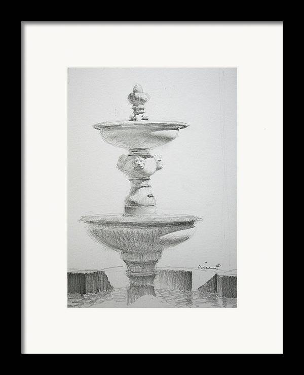 Graphite On Paper Framed Print featuring the drawing Fountain One by Michael Vires