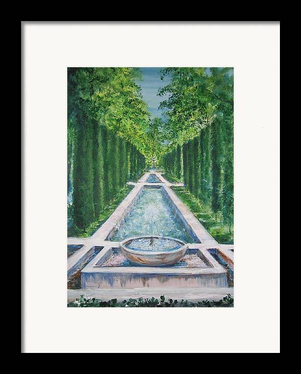 Fountain Framed Print featuring the painting Fountain Palma De Mallorca Capital by Lizzy Forrester