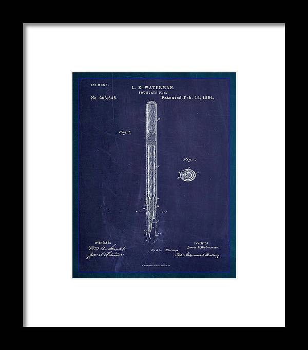Patent Framed Print featuring the mixed media Fountain Pen Patent Drawing 1e by Brian Reaves