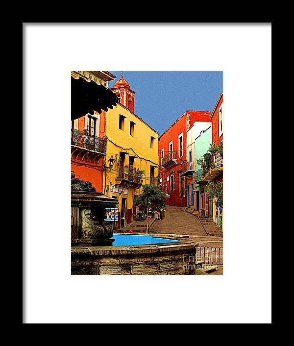 Darian Day Framed Print featuring the photograph Fountain Plaza by Mexicolors Art Photography