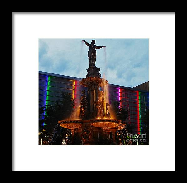 Fountain Square Framed Print featuring the photograph Fountain Square by Terri LeSaint-Keller