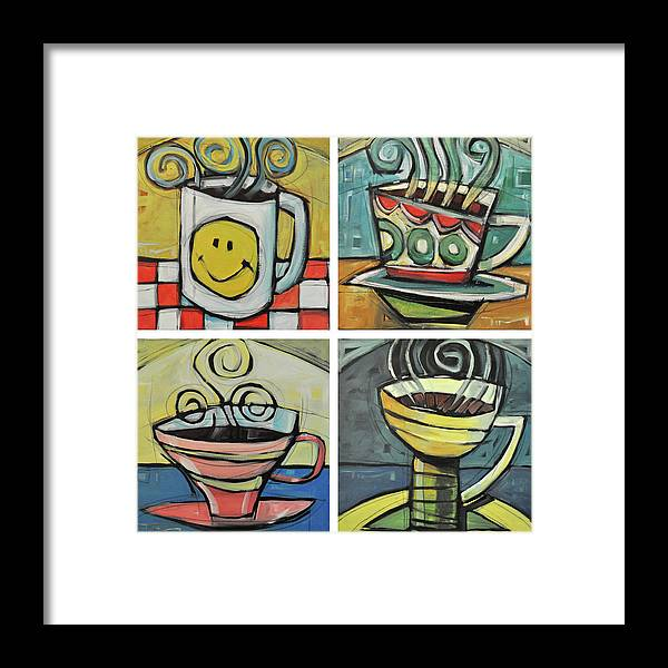 Coffee Framed Print featuring the painting Four Cups Of Coffee by Tim Nyberg
