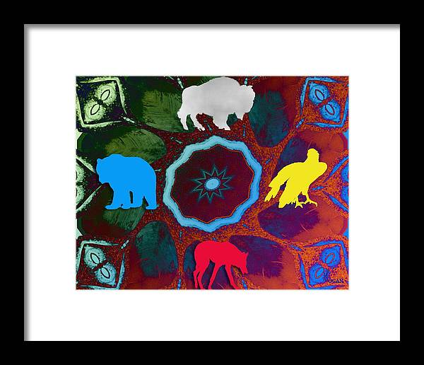 Wildlife Framed Print featuring the digital art Four Directions  -009 by Will Logan