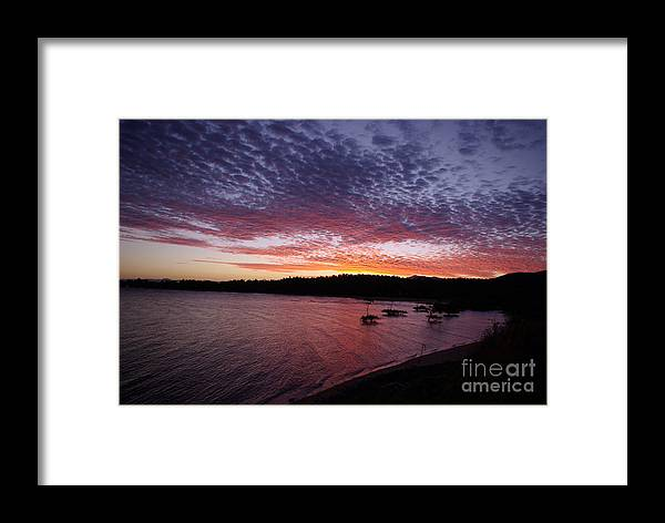 Landscape Framed Print featuring the photograph Four Elements Sunset Sequence 1 Coconuts Qld by Kerryn Madsen - Pietsch