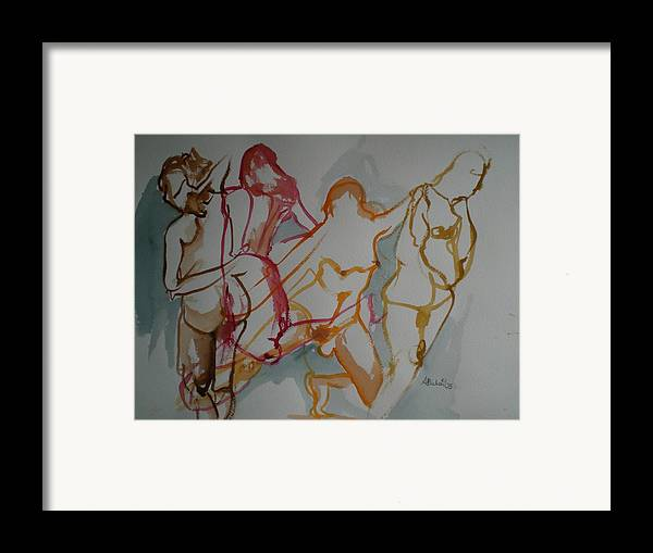 Female Nudes Framed Print featuring the painting Four Female Figures by Aleksandra Buha