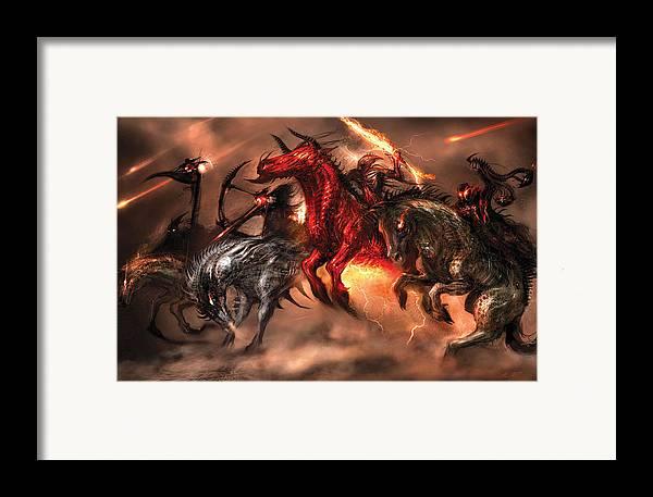 Concept Art Framed Print featuring the digital art Four Horsemen by Alex Ruiz