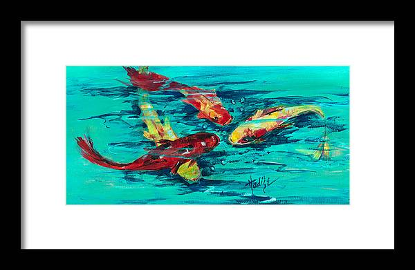 Koy Framed Print featuring the painting Four Koi by Mary DuCharme