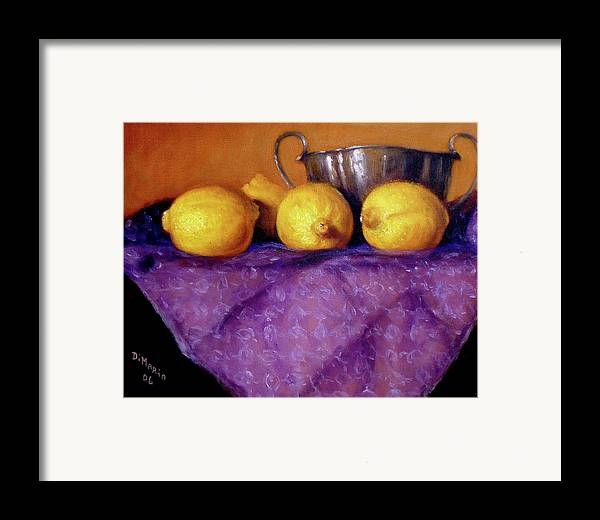 Realism Framed Print featuring the painting Four Lemons by Donelli DiMaria