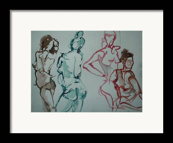Nude Figures Framed Print featuring the painting Four Nude Figures by Aleksandra Buha