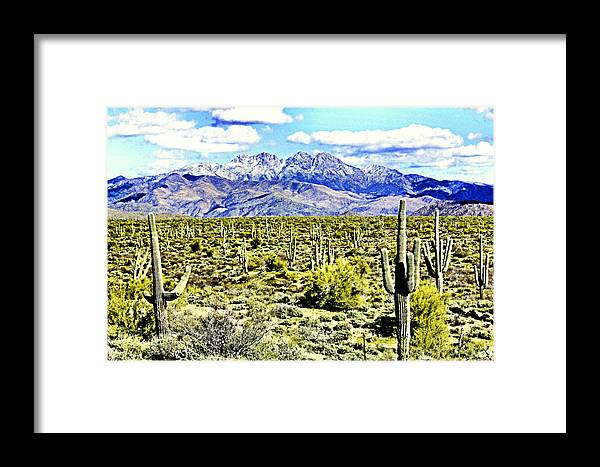 Photography Framed Print featuring the photograph Four Peaks by Sharon Broucek